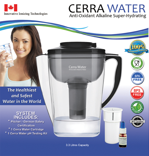 Cerra Water Pitcher, cleans, charges and alkalizes your tap water