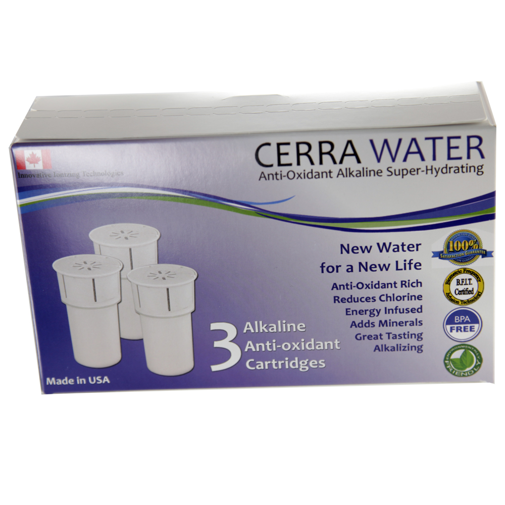 erra Water Pitcher, cleans, charges and alkalizes your tap water